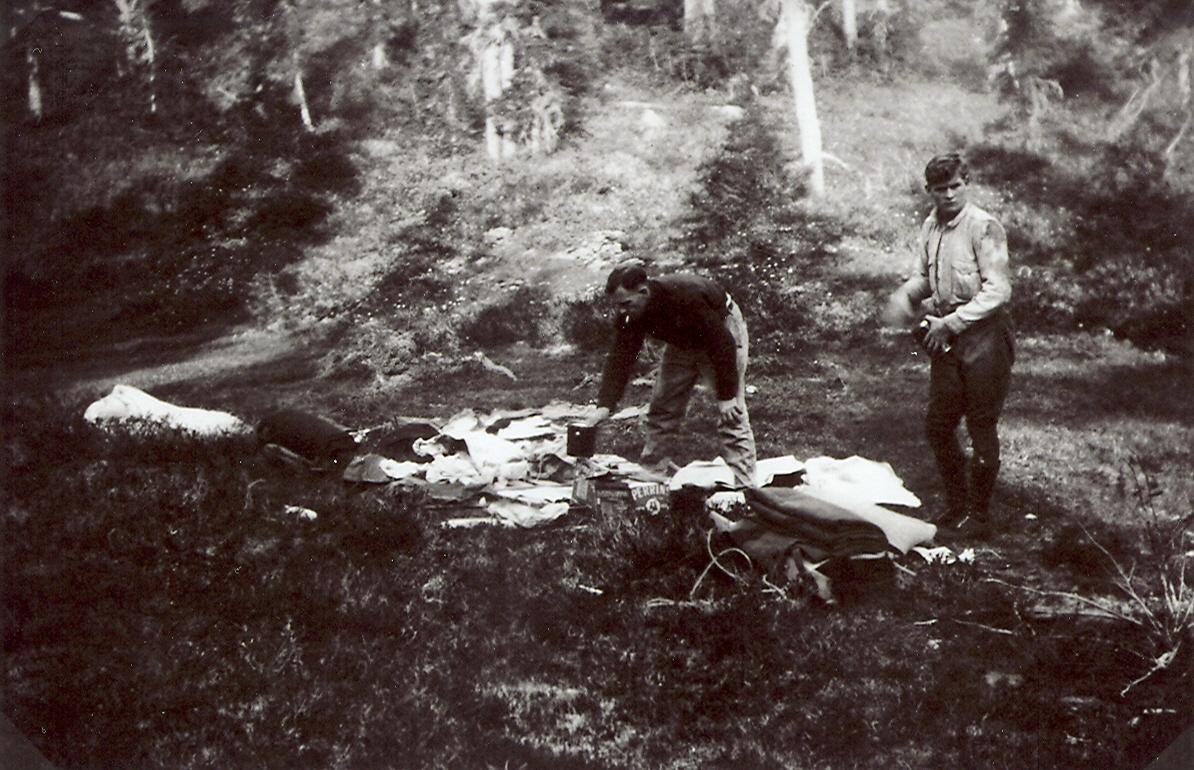 Lunch, en-route to the Comox Glacier, 1922