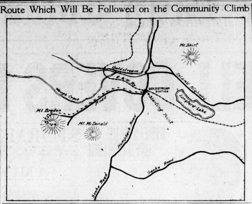 A line drawing of the route to Mt. Braden.