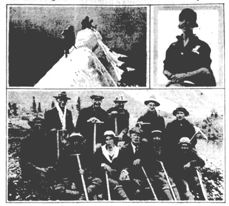 Three photos showing mountaineers on top of a peak, the guide (Conrad Kain) and a group of climbers.