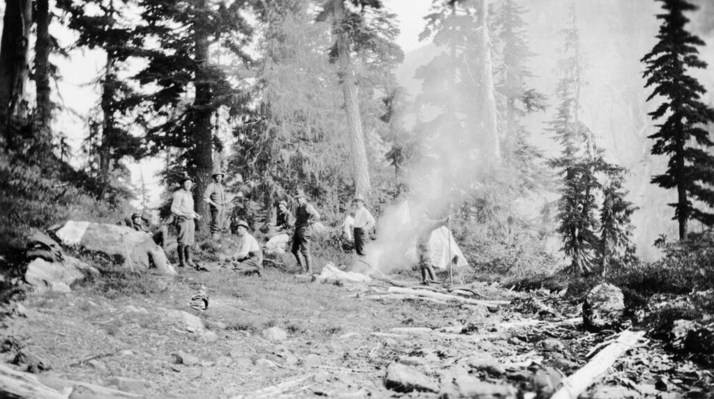 A black and white photo of the ACC Strathcona Camp 1912